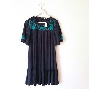 NWT loft embroidered boho ruffle dress small